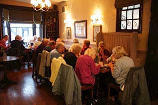 Enjoying a pub lunch together